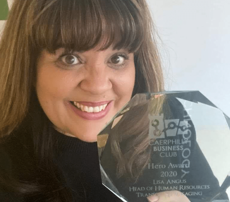 Lisa Angus receives 'Hero Award' from the Caerphilly Business Club